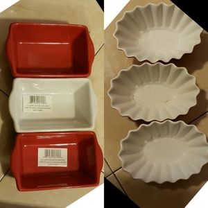 6 Crate&barrel fluted oval baker red baking dishes